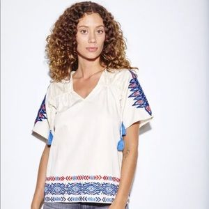 Anthro Pepin embroidered women's short sleeve